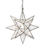 Worlds Away - Clear Star Chandelier, Xlarge - Stargaze in your own home with the eclectic Clear Star Chandelier. With clear panels and several points, this star-shaped chandelier will spread golden light and distinctive contemporary style wherever it hangs. The Clear Star light comes with a 3 foot antique brass chain and requires a 60 watt bulb.