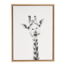 Giraffe Portrait Black and White Framed Canvas Wall Art