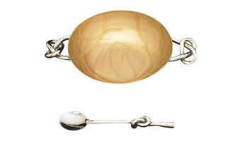 Knotty Bowl With Knotty Spoon, Gold
