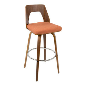 Trilogy Barstool in Walnut and Orange Fabric, Set of 2