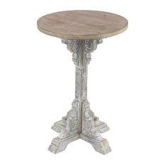 Round Wood Pedestal Table White
