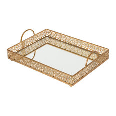 Giovanni Large Gold Rectangular Mirror Top Serving Tray