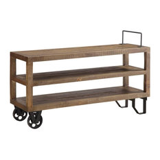 Crafters And Weavers Harding Reclaimed Wood Industrial Cart Console Table