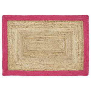 Origins Jute Jute Border Pink Rectangular Rug, 80x150 cm