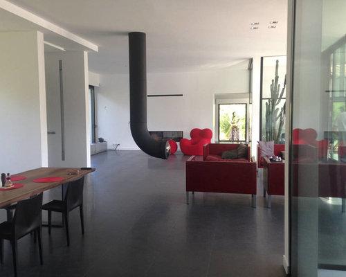 foto e idee per living - living con camino sospeso nizza - Soggiorno Moderno Sospeso 2