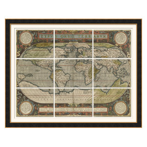 """Antique World Map Grid"" Framed Print, 149x119 cm"