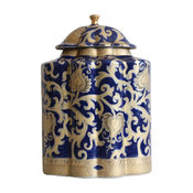 Chinese Navy and Gold Tapestry Porcelain Tea Caddy 10.5""
