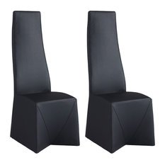 Chintaly Imports - Ruby Collection Fully Upholstered High Back Side Chair, Set of 2, Black - Dining Chairs