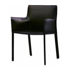 Mobital Fleur Leather Dining Arm Chair, Black