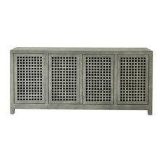 Luxe Gray Drift Wood Lattice Media Cabinet, Cutout Grid Open Coastal Buffet