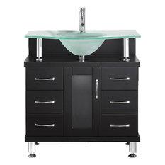 "Virtu Usa Inc. - Vincente 32"" Single Bathroom Vanity Set Espresso, Frosted Tempered Glass Top - Bathroom Vanities and Sink Consoles"