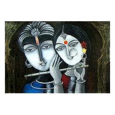 """Divine Soul Mates- Radha Krishna"", Acrylic Painting"