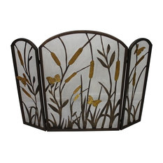 Fireplace Screen, Cat Tail Butterfly Accent, Three Panel