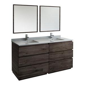 "Formosa Floor Standing Double Sink Modern Bathroom Vanity With Mirrors, 72"""