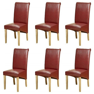 Contemporary Set of 6 High Back Chairs, Oak Finish Wood Legs, Cushioned Seat