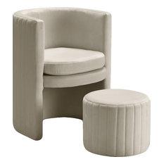 Selena 2-Piece Velvet Accent Chair and Ottoman Set, Cream