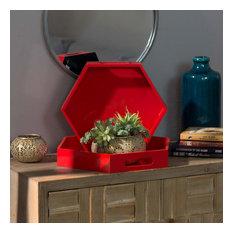 Wood Hexagonal Serving Trays, 2-Piece Set, Red