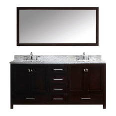 "72"" Double Bathroom Vanity,Espresso,Marble Top,Square Sink,Mirror"