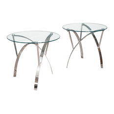 GDFStudio   Davina Tempered Glass Round Accent Tables With Chrome Legs, Set  Of 2