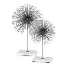 """8"""" X 8"""" X 12"""" Silver/White Spiked Medium - Sphere On Base"""