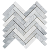 White Carrara Marble Marble Stone Textured Blended Herringbone Backsplash