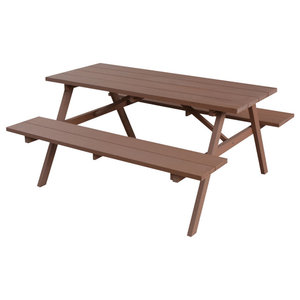 vidaXL WPC Picnic Table With Benches, Brown, 150x139x73 cm