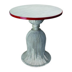 Vintage Style Silver Iron Tassel Bistro Table Accent Round White Marble Top