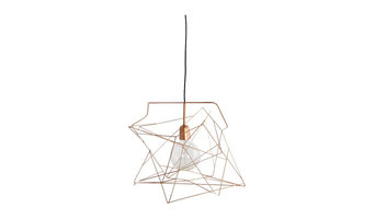 Extra large geometric wire lightshade in copper