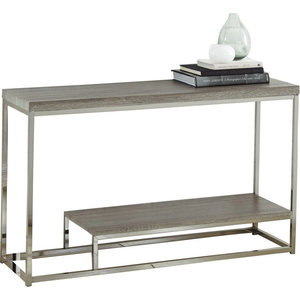 Excellent Coaster Sofa Table Weathered Gray Black Nickel Short Links Chair Design For Home Short Linksinfo
