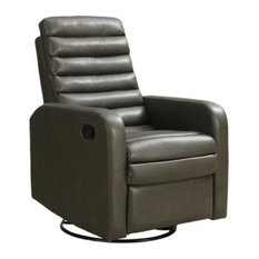 Monarch Specialties I 8086GY Leather Swivel Glider Recliner, Charcoal Gray