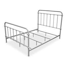 Hampton Dark Bronze Queen Size Metal Bed Frame, Vintage White, Queen