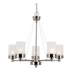 Joshua Marshal - Five Light Brushed Nickel White Frosted Glass Up Chandelier  - Chandeliers