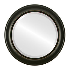 """Messina Framed Round Mirror in Rubbed Black, 27""""x27"""""""