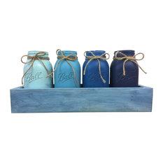 Salty Dog Blue Painted Quart Mason Jar Planter Box Centerpiece, 5 Piece Set