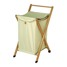 Laundry Basket With Closable Bag, Natural Wood
