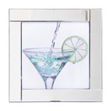 Square Mirror Picture Frame With Glittered Cocktail Glass Illustration