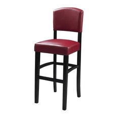 Pemberly Row 24-inch Faux Leather Counter Stool In Espresso And Dark Red