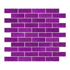 """12""""x12"""" Purple Violet Glitter Glass Subway Tile, Full Sheet"""