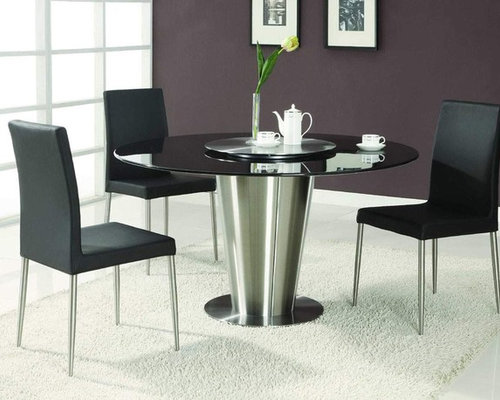 Modern Exclusive Round Marble Top Leather 5 Piece Dining Room Set   Dining  Tables
