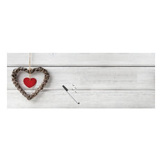 Wooden Heart Magnetic Glass Noticeboard
