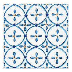 Blue and Yellow Decorative Glazed Tile Design 4, 20 x 20 cm