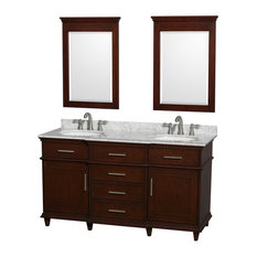 "60"" Double Bathroom Vanity in Dark Chestnut With Top, Undermount Sinks, Mirrors"
