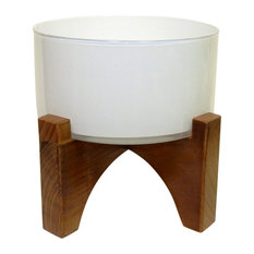 Modern Glass Planter With Wooden Stand