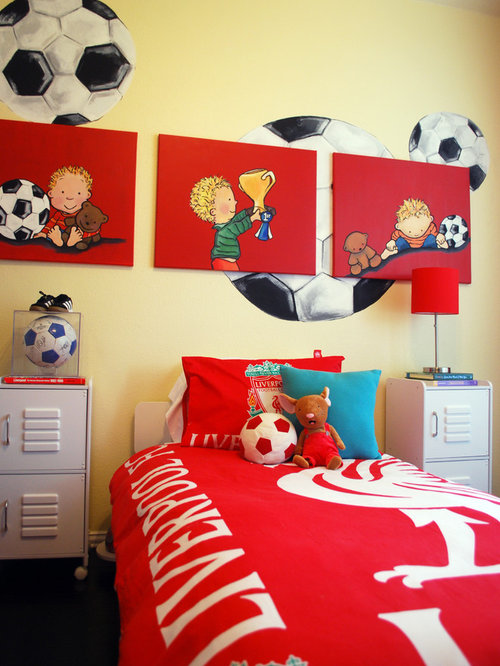 Sports locker houzz for Boys football bedroom ideas
