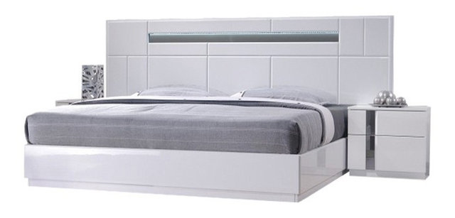 Palermo Modern Bedroom Set, White Lacquer, 5 Piece Set, Queen