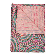 "100% Cotton Vintage Handmade Kantha Throw, 50""x70"""
