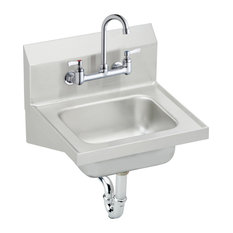 Elkay Stainless Steel Wall Hung Handwash Sink Kit, Buffed Satin