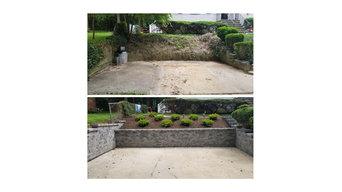Back wall of Driveway TOP: Before BOTTOM: After