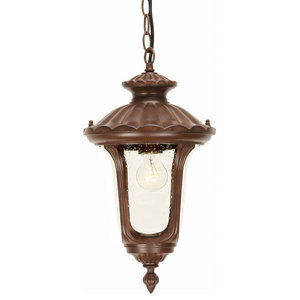 Traditional Outdoor Chain Lantern With Textured Glass