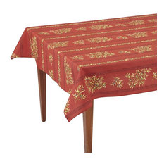 "Clos des Oliviers Rouge Striped Rectangular French Tablecloth, 61""x118"
